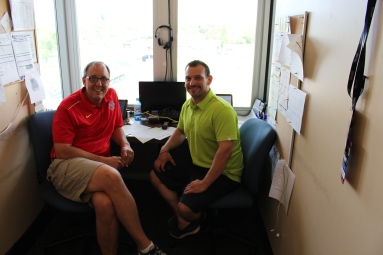 Senators announcer Terry Byrom (left) and SeaWolves announce Greg Gania